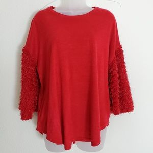 Umgee Red Shrit with Shimmery Skeeve detailing